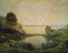 """Sunset Over the Connecticut,"" Henry Ward Ranger, 1903, oil on canvas, 28 x 36"", The Cooley Gallery."