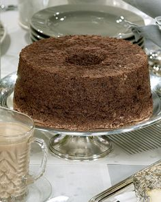 In an update of the original angel food cake, a rich chocolate base is paired with a hazelnut creme anglaise.