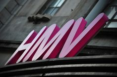 An HMV sign is pictured outside a branch of the music retailer in central London on January 15, 2013.