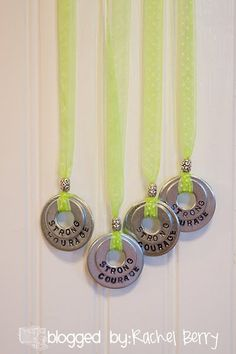 Stamped Washer Necklace. Can also use nailpolish with a clear coat on top to decorate. Did this for big sister's birthday party and it was a hit! Made matching girl and doll necklaces with larger and smaller washers.