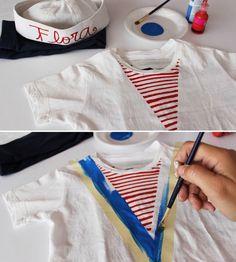 DIY Matrosin Kostüm für Kind aus weißem T-Shirt