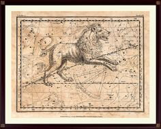 Leo Constellation Print, Zodiac Print, Astrological Poster, on Antiqued Paper, aged style, old constellation map, star map, Leo zodiac