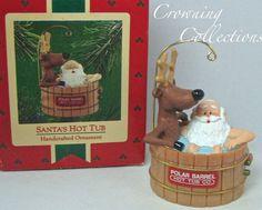 1986 Hallmark Santa's Hot Tub Ornament Santa Claus Reindeer Vintage Keepsake MIB
