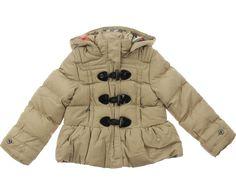 Burberry Junior Girls Beige Duffle Puffer Coat With Hood 130p
