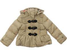 Burberry Junior Girls Beige Duffle Puffer Coat With Hood 130p
