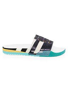 British Flag Mens Leather Slide Sandals Summer House Velcro Slippers Casual Boys