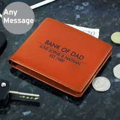 Gift Idea for Father of the Bride or Father of the Groom - Brown Leather Wallet - Personalised Classic Brown Leather Wallet