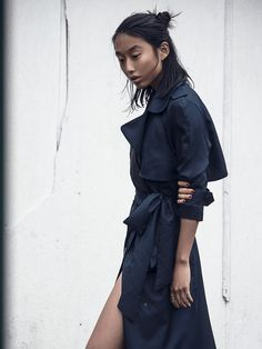 Margaret Zhang in a trenchcoat, effortlessly chic.
