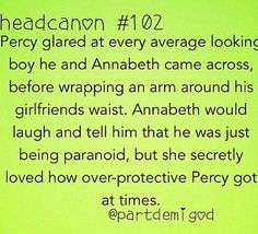 Percy being a protective boyfriend
