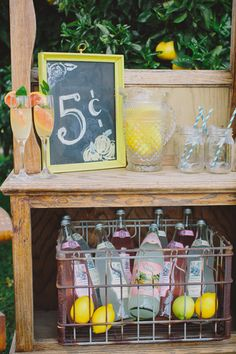 Lemonade stand drink station for a summer party.