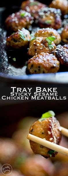 Tray Bake Sticky Sesame Chicken Meatballs Sweet, sticky and delicious. These tray baked sticky sesame chicken meatballs are packed with flavour and bake easily in the oven for a perfect week night meal. Mince Recipes, Appetizer Recipes, Cooking Recipes, Oats Recipes, Recipes With Chicken Mince, Party Appetizers, Finger Food Recipes, Chicken Tray Bake Recipes, Savoury Finger Food
