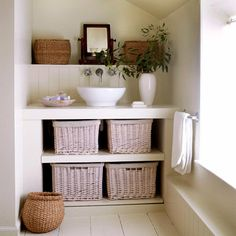 Wicker baskets in bathroom | Country Style Bathrooms | Decorating Ideas | Interiors