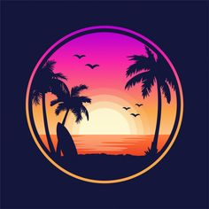 I prefer the beaches in pacific island beaches the best. I believe that pacific island beaches has great beaches. Everything from ideal white sand to 80 degree water; Sunset Beach, Beach Art, Beach Sunset Painting, Miami Beach, Tropical Beach Resorts, Silhouette Tattoos, Beach Silhouette, Beach Pink, Neon Wallpaper