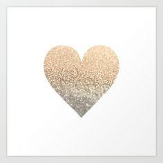 GATSBY GOLD HEART Art Print by Monika Strigel - $19.00