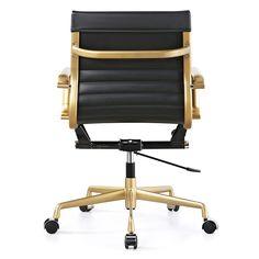 Meelano Vegan Leather Mid-Back Office Chair with Arms You'll Love | Wayfair