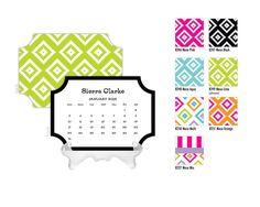2016 Desk Calendar / Custom Calendar / Calendar with Stand / Bookplate Calendar / 2017 Calendar / Monogrammed Calendar Planner by DetailsandPaper on Etsy