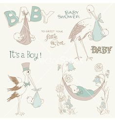 Vintage baby boy shower vector on VectorStock®