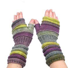 Knitted Gloves accessories Gift idea Women Violet Lemon Green