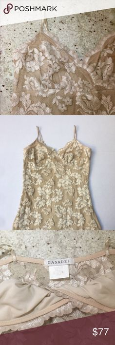 Casadei beige Lace dress Delicate Lace dress by Casadei. Adjustable spaghetti straps. Lined. Made in USA. Very flattering fit. 59% Nylon, 31% Rayon, 10% Spandex. Excellent condition! Feel free to ask questions! Casadei Dresses
