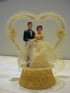 Vintage 1950's Wedding Cake Topper by featherednest57 on Etsy, $28.00