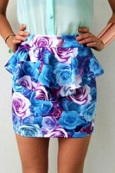 Nice, blue and purple floral skirt