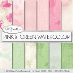 Pink & Green Watercolor textures, digital paper, backgrounds. Overlays, pink, green textures made with real watercolor painted textures. Excellent