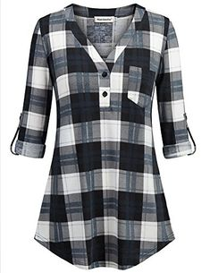 V Neck Patchwork Plaid Long Sleeve T-Shirt – wanokitty beautiful blouses blouses outfit summer simple blouse shirts for women shirts for women casual long sleeve chiffon tops for women Stylish Dresses, Trendy Outfits, Fashion Dresses, Kurti Neck Designs, Work Blouse, Tunic Blouse, Shirt Style, Clothes For Women, Long Sleeve