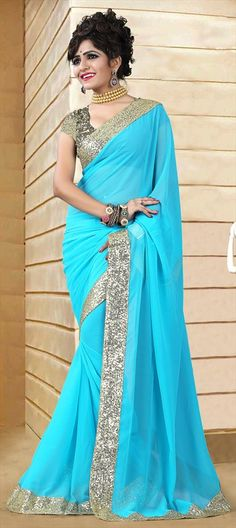 165128 Green color family Party Wear Sarees in Faux Georgette fabric with Border,Sequence work with matching unstitched blouse. Bollywood Outfits, Bollywood Dress, Latest Indian Saree, Indian Sarees Online, Bridesmaid Saree, Bridesmaids, Party Wear Sarees Online, Simple Sarees, Saree Shopping
