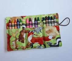 Crayon Roll foxes woodland animals Crayon Rollup, holds 15 Crayons, Birthday Party Favors