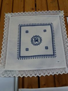 Items similar to weih basket in blue and white hand embroidered with lace on . Items similar to blue and white embroidered basket blanket embroidered by hand with lace on Etsy Embroidered Towels, Napkins, Cross Stitch, Basket, Blue And White, Etsy, Rugs, Ideas, Hand Embroidery