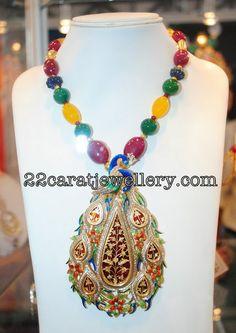 Jewellery Designs: Meena Work Designer Beads Set