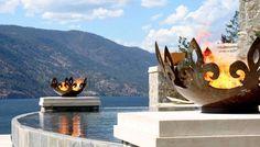 Fiery Fleur-de-Lis 37 inch Sculptural Firebowl