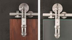 MWE Protec - Modern Barn Door Hardware is suitable for single or double bi-parting applications. The rail may be mounted to the wall, ceiling, or stationary glass. Protec hardware is appropriate for use with both frameless glass and wood doors.  Maximum weight capacity per (2) carriers is 231 Lbs. (2) carriers per door only.