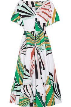 Emilio Pucci | Pleated printed stretch-cotton poplin midi dress | NET-A-PORTER.COM