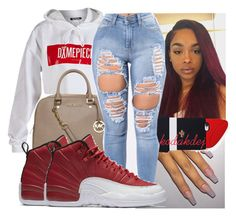 """""""Untitled #896"""" by kodakdej ❤ liked on Polyvore featuring Dimepiece, MICHAEL Michael Kors, Forever 21 and NIKE"""