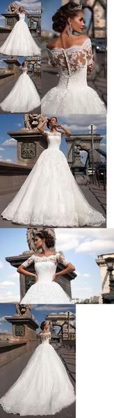 Elegant Free Custom Lace Short Sleeves Gorgeous Popular Wedding Dress, WD0096