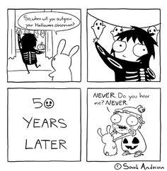 Tastefully Offensive on Tumblr, sarahseeandersen:   It's Halloweek :)