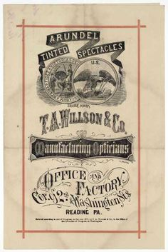Vintage advertisement for tinted spectacles. 19th century.