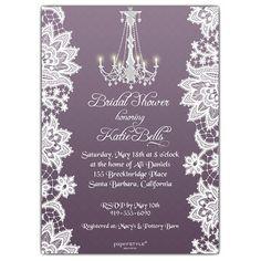 Pretty Bridal Shower Invite, Purple, Lace. Purple Wedding