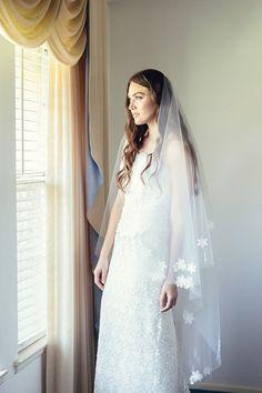 Bridal Drop Veil with Lace Appliques Wedding by MarisolAparicio, $230.00    Bridal Veil,  mantilla veil,  wedding veil