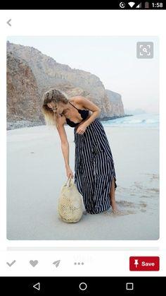 Black Scalloped Bikini Top Teamed With Nautical White And Blue Maxi Skirt Fashion Me Now, Beach Fashion, Holiday Fashion, Holiday Outfits, Summer Outfits, Holiday Style, Vacation Style, Vacation Outfits, Travel Style