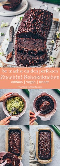 Dieser vegane Zucchini-Schokoladenkuchen ist saftig, fudgy, schokoladig und schm… This vegan zucchini chocolate cake is juicy, fudgy, chocolaty and tastes Best Vegan Chocolate, Tasty Chocolate Cake, Chocolate Recipes, Chocolate Chips, Quick Dessert Recipes, Easy Cookie Recipes, Cake Recipes, Bolo Vegan, Cake Vegan