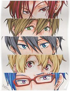 Rin, Makoto, Haruka, Nagisa and Rei - eyes *-* Free quote Free Eternal Summer, Rin Free, Free Makoto, Poster Anime, Splash Free, Free Iwatobi Swim Club, Free Anime, Anime Eyes, Anime Shows