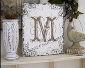 MONOGRAM SIGNS 10 x 12 Any Letter A - Z Shabby Cottage Initials Handpainted / No Vinyl