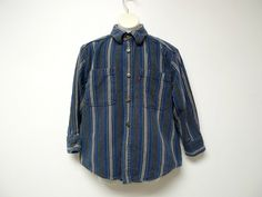 vintage LEVI'S denim stripe long sleeve shirt for boys . small / 8 -10 by june22 on Etsy