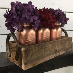 Painted Mason Jars, Mason Jar Caddy, Wedding Centerpiece, Rustic Wedding,Copper Penny Mason Jars,Rustic Centerpiece,Horseshoe Crate,Wood Box by LynxCreekDesigns on Etsy