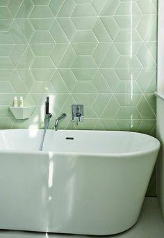 Those tiles! Hotel des Galeries in Brussels Bad Inspiration, Bathroom Inspiration, Lime Green Bathrooms, Glazed Tiles, Bathroom Trends, Bathroom Renovations, Bathroom Ideas, Bathroom Colors, Creative Decor