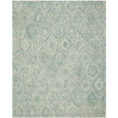"Safavieh Ikat Collection IKT631A Handmade Ivory and Sea Blue Premium Wool Area Rug (8'9"" x 12')"