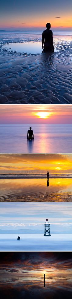 Another Place is a collection of 100 cast iron figurative sculptures by artist Antony Gormley that was installed at Crosby Beach, England in the mid-2000s. The giant figures each weigh upward of 1,400 lbs (650 kg) and are spread across an area of beach nearly two miles long.
