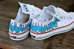 c5a8a074fbc5 Moccasin Converse shoes Hand Painted Blue   Green by BStreetShoes